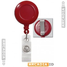 Round Red Swivel Back Reels with Clear Vinyl Strap