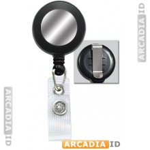 "Black 1-1/4"" (32MM) Reinforced Belt Clip Badge Reel with Silver Sticker"