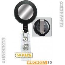 "50 Black 1-1/4"" (32MM) Reinforced Belt Clip Badge Reel with Silver Sticker"
