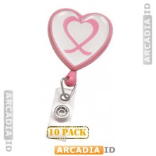 10 Pack of - Pink Heart Shaped Breast Cancer Awareness Badge Reels