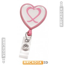 Pink Badge Reel With Domed Awareness Label, Clear Vinyl Strap & Swivel Spring Clip