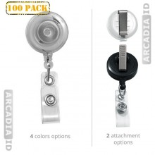 100 ID Badge Reels | Choice of Color and Attachment Type