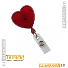 10 Heart-Shaped Badge Reel With Strap (Translucent)